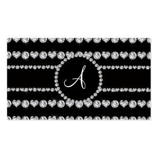 Monogram black diamond hearts stripes business cards