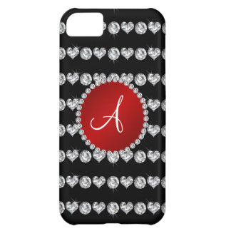Monogram black diamond hearts stripes red circle iPhone 5C cases