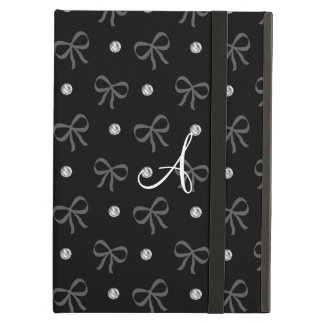 Monogram black diamonds and bows iPad air cover