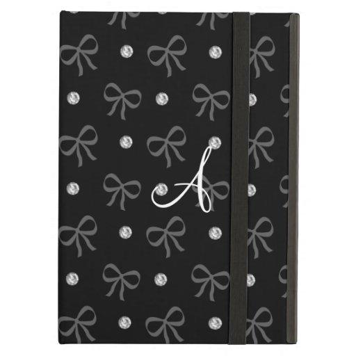 Monogram black diamonds and bows iPad case