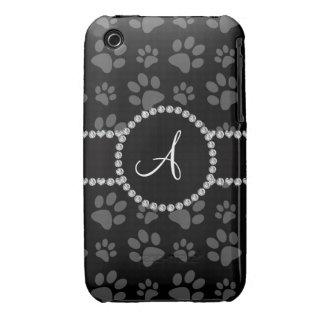 Monogram black dog paws diamond circle iPhone 3 cover