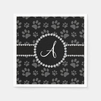 Monogram black dog paws diamond circle disposable napkin