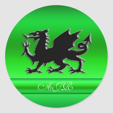 Monogram, Black Dragon on green metallic-effect Classic Round Sticker