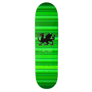Monogram, Black Dragon on green metallic-effect Skateboard