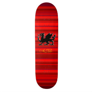 Monogram, Black Dragon on red metallic-effect Skateboard