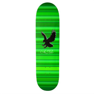 Monogram, Black Eagle logo on green chrome-effect Skateboard Deck