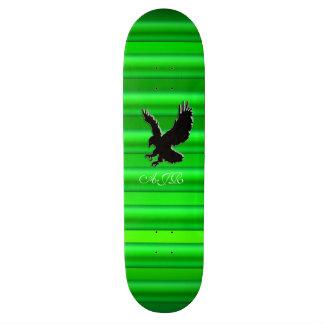 Monogram, Black Eagle logo on green chrome-effect Skateboard Deck