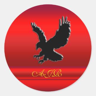 Monogram, Black Eagle logo on red chrome-effect Classic Round Sticker