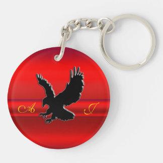 Monogram, Black Eagle logo on red chrome-effect Key Chains