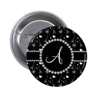 Monogram black eiffel tower pattern 2 inch round button