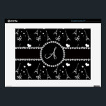 """Monogram black eiffel tower pattern laptop skin<br><div class=""""desc"""">Modern eiffel tower gift ideas. Chic and trendy Monogram black eiffel tower, hearts and ribbons with pretty black diamond encrusted circle (faux not real diamonds) and bling black diamonds stripe ( not real diamonds) dots and hearts and monogram gifts or your initials, letter change to any letter a, b, c,...</div>"""