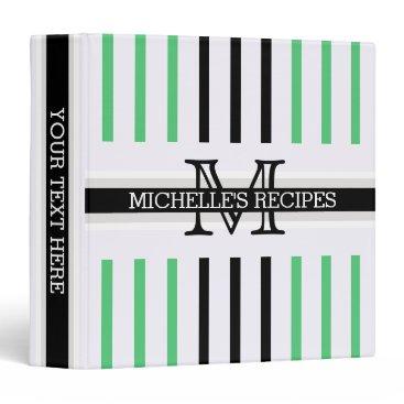 Beach Themed Monogram Black Emerald Stripes Pattern Recipes 3 Ring Binder
