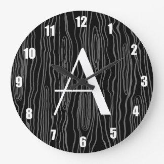 Monogram black faux bois large clock