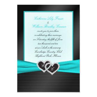 """Monogram Black FAUX Satin Pleats with Aqua Invite 5"""" X 7"""" Invitation Card"""
