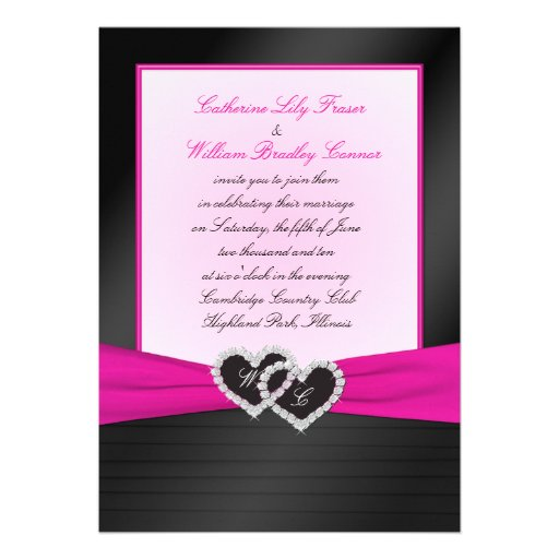Monogram Black FAUX Satin Pleats with Pink Invite