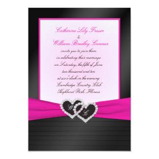 "Monogram Black FAUX Satin Pleats with Pink Invite 5"" X 7"" Invitation Card"