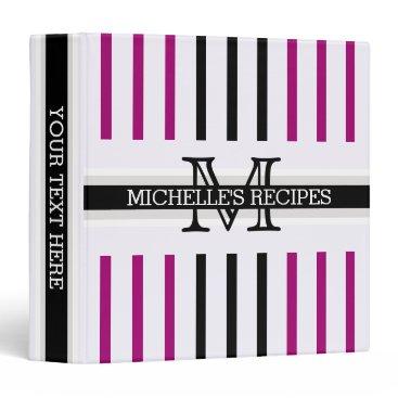 Beach Themed Monogram Black Flirt Stripes Pattern Recipes Binder