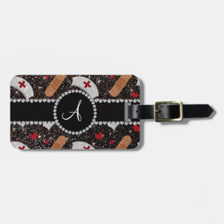 Monogram black glitter nurse hats heart luggage tag