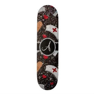Monogram black glitter nurse hats heart skateboard deck