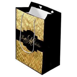 Monogram Black & Gold 50th Anniversary Gift Bag