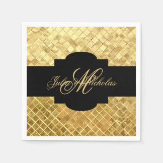 Monogram Black & Gold 50th Anniversary Napkins