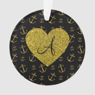Monogram black gold anchors pattern