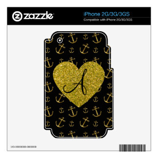 Monogram black gold anchors pattern decal for the iPhone 3G