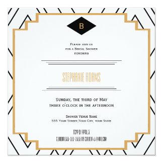 Monogram Black, Gold and White Art Deco Bridal Card