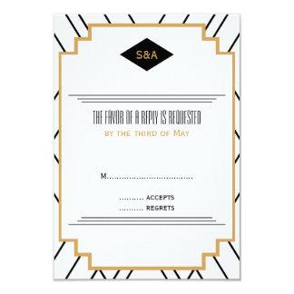 Monogram Black, Gold and White Art Deco RSVP Card