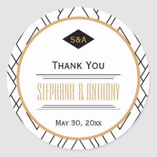 Monogram Black, Gold and White Art Deco Thank You Classic Round Sticker
