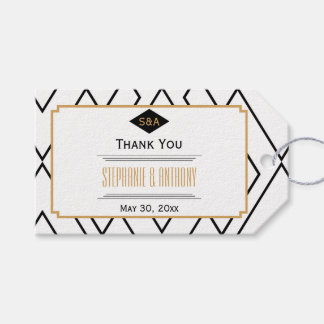 Monogram Black, Gold and White Art Deco Thank You Gift Tags