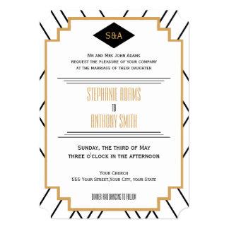 Monogram Black, Gold and White Art Deco Wedding Card