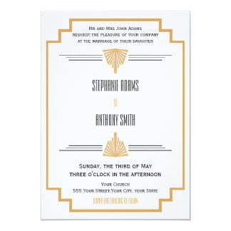 Monogram Black, Gold and White Art Deco Wedding Card