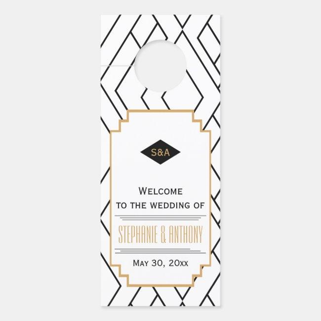 Monogram Black, Gold and White Art Deco Wedding Door Hanger