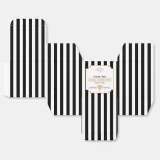 Monogram Black, Gold and White Art Deco Wedding Favor Box
