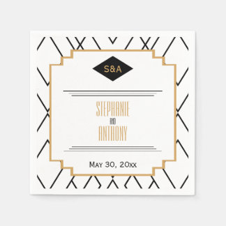 Monogram Black, Gold and White Art Deco Wedding Paper Napkin