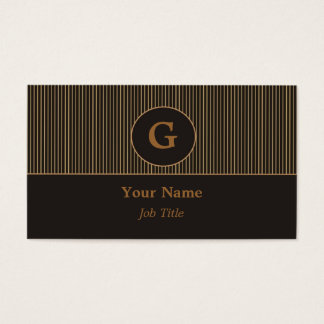 Monogram Black & Gold Business Card