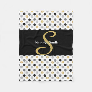 Monogram Black, Gold, Silver Polka Dots Fleece Blanket