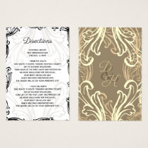Monogram Black Gold Vintage wedding Details card