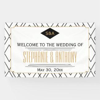 Monogram Black, Gold, White Art Deco Wedding Banner
