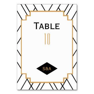 Monogram Black, Gold, White Art Deco Wedding Card