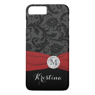 Monogram Black, Gray, Red Damask iPhone 7 Case