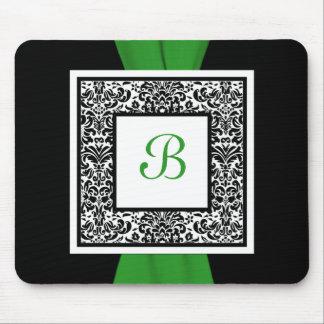 Monogram Black, Green, and White Damask Mousepad