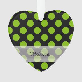Monogram Black Green Chic Polka Dot Pattern