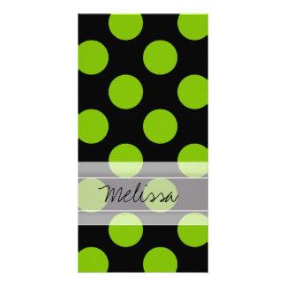 Monogram Black Green Chic Polka Dot Pattern Card