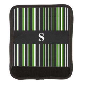 Monogram Black, Green, White Barcode Stripe Luggage Handle Wrap