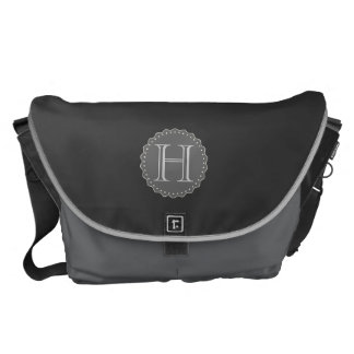 Monogram,Black,Grey,White Messenger Bag