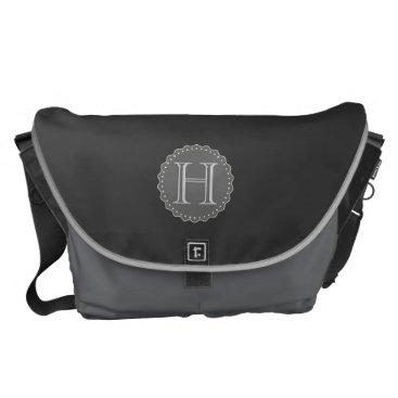 Professional Business Monogram,Black,Grey,White Messenger Bag