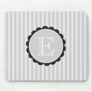 Monogram Black Grey White Scalloped Stripes Mouse Pad