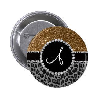 Monogram black leopard gold glitter button